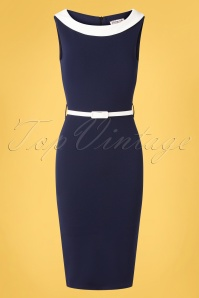 Vintage Chic for TopVintage 50s Bessy Pencil Dress in Navy and Ivory