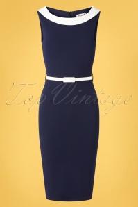 Bessy Pencil Dress Années 50 en Bleu Marine et Ivoire