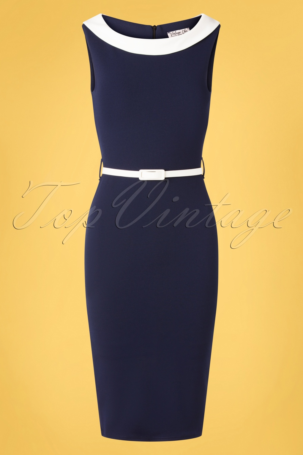 500 Vintage Style Dresses for Sale | Vintage Inspired Dresses 50s Bessy Pencil Dress in Navy and Ivory £43.83 AT vintagedancer.com