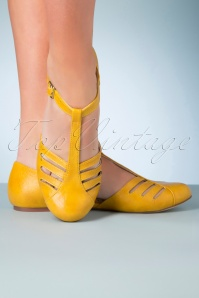 B.A.I.T. 50s Edie T-Strap Flats in Mustard Yellow