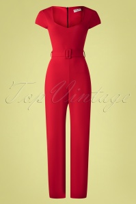 50s Senne Jumpsuit in Lipstick Red