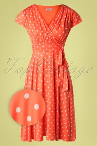 Vintage Chic 33358 Swingdress Orange Polkadot 02062020 004 Z