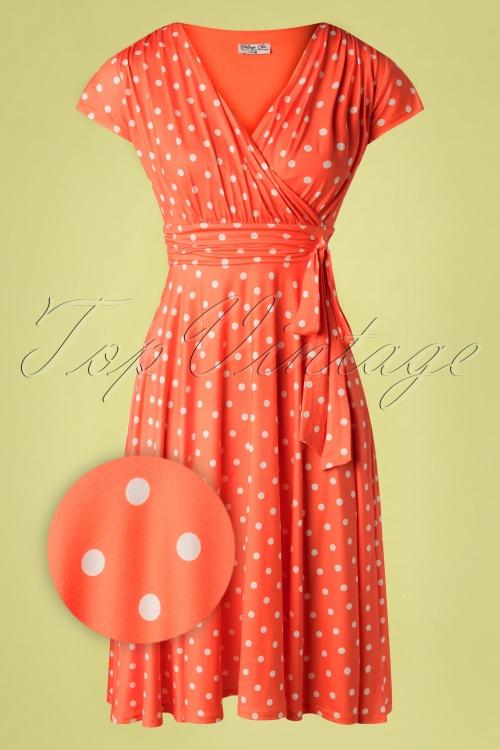Vintage Chic 33358 Swingdress Orange Polkadot 02062020 004 Z