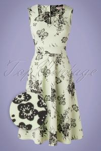 50s Veronique Floral Swing Dress in Mint