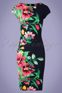 Vintage Chic 33386 Pencildress Aloha Neon Floral 02062020 002 W