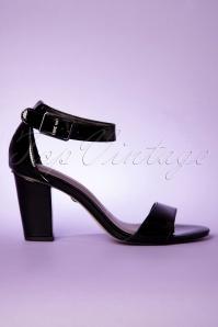 60s Patent Sandals in Black