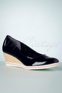 Tamaris 60s Rita Patent Wedges in Dark Navy
