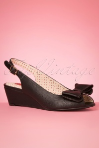 50s Jasmine Wedge Peeptoes in Black