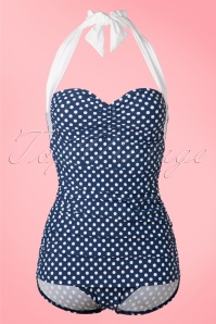 Girl Howdie 50s Sandy Frock One Piece Swimsuit in Navy