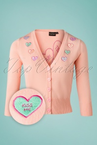Vixen Unreal Redheads Collaboration ~ 50s Kim Love Heart Cardigan in Pink