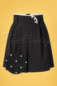 Vixen 50s Paulina Polkadot High Waist Shorts in Black