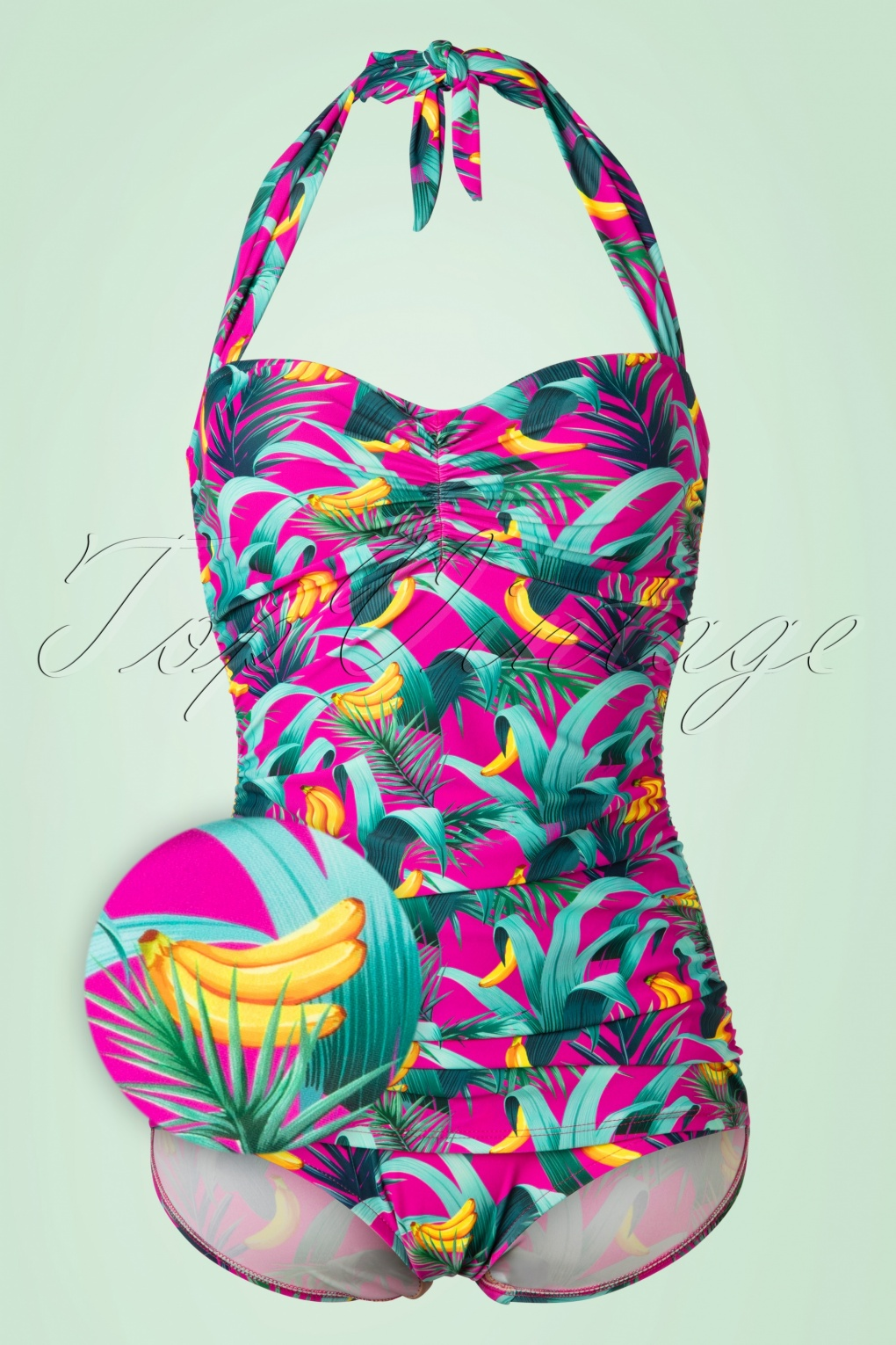 Vintage Bathing Suits | Retro Swimwear | Vintage Swimsuits 50s Chiquita Frock One Piece Swimsuit in Magenta £92.05 AT vintagedancer.com
