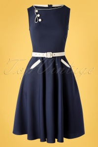 50s Saskia Skater Dress in Navy