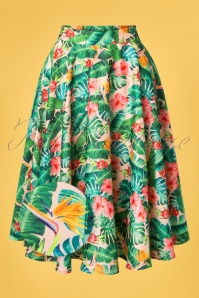 Vixen Unreal Redheads Collaboration ~ 50s Jinkx Floral Tropical Skirt in Pink and Green