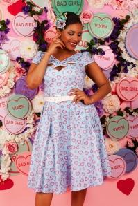 50s Ginger Heart Swing Dress in Blue