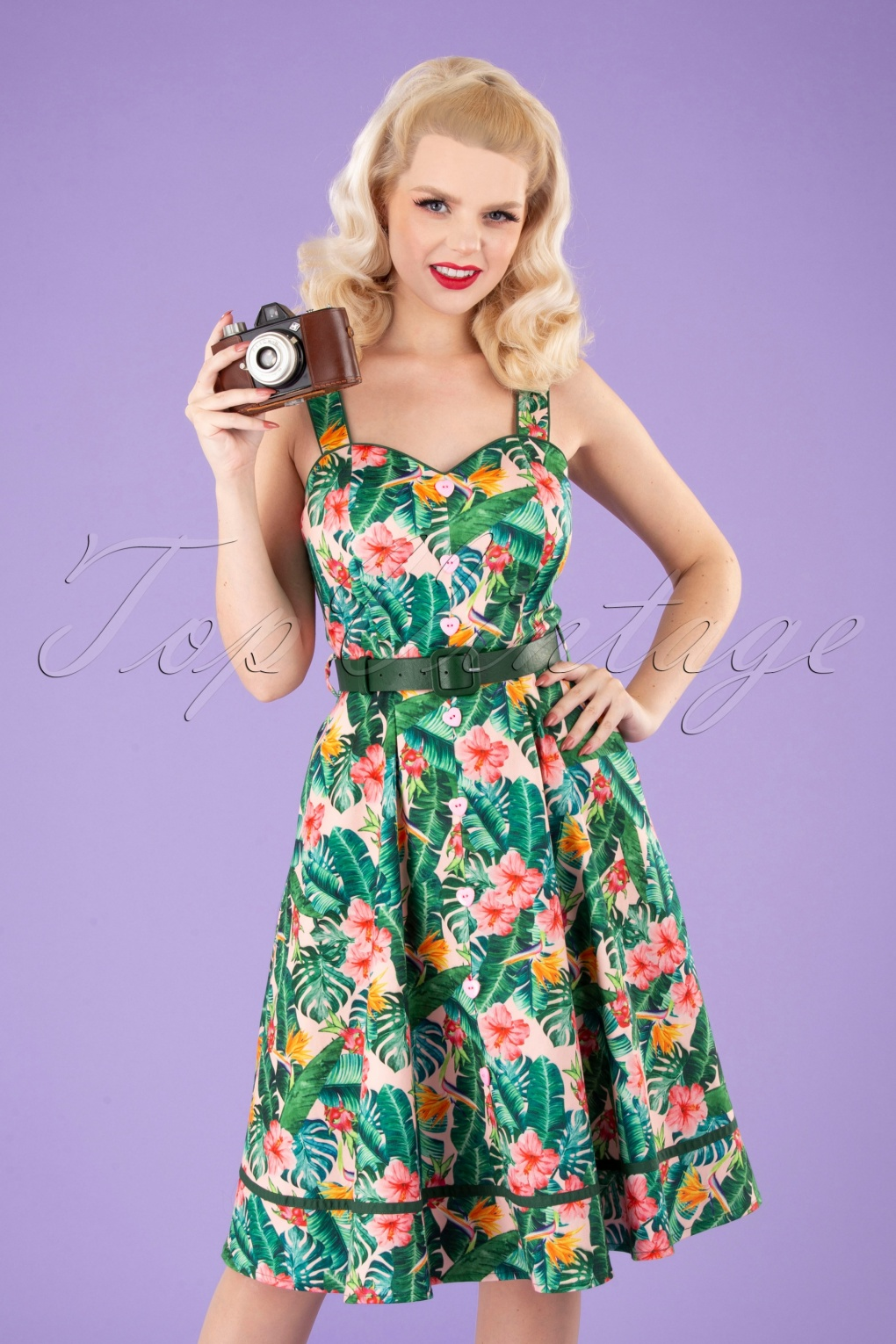 1950s Plus Size Dresses, Swing Dresses Unreal Redheads Collaboration  50s Jinkx Floral Tropical Dress in Pink and Green £67.78 AT vintagedancer.com