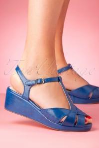 B.A.I.T. 50s Kira Low Wedge Sandals in Blue