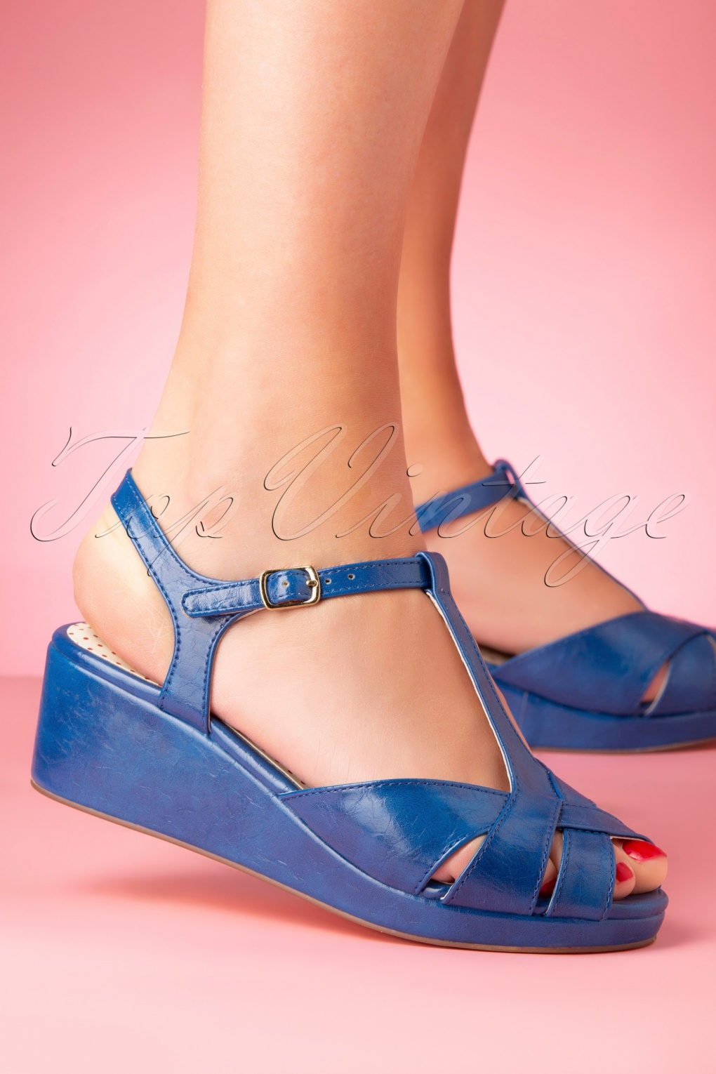 Pin Up Shoes- Heels, Pumps & Flats 50s Kira Low Wedge Sandals in Blue £67.93 AT vintagedancer.com