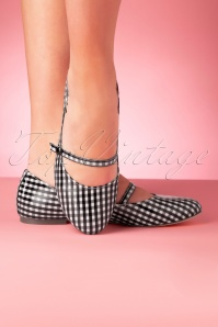 B.A.I.T. 50s Secret Gingham Flats in Black and White