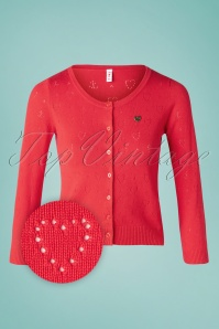 Blutsgeschwister 60s Logo Short Roundneck Cardigan in Red Heart Anchor