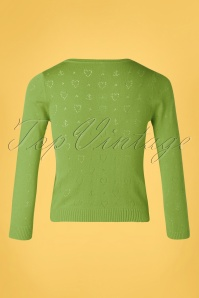Blutsgeschwister 31878 Cardigan Green Roundneck Hearts 10022020 003W