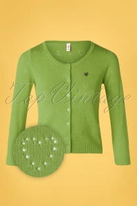 Blutsgeschwister 60s Logo Short Roundneck Cardigan in Green Heart Anchor