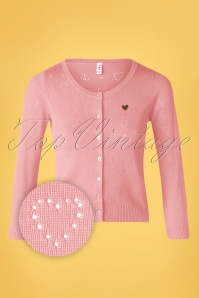 Blutsgeschwister 60s Logo Short Roundneck Cardigan in Rose Heart Anchor