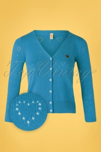 Blutsgeschwister 60s Logo Short Cardigan in Blue Heart Anchor