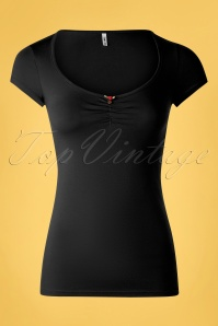 Blutsgeschwister 50s Logo Feminine Short Sleeve Top in Black