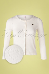 Blutsgeschwister 60s Logo Short Roundneck Cardigan in Ivory Heart Anchor