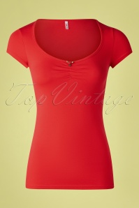 50s Logo Feminine Short Sleeve Top in Red