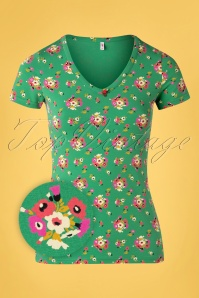 Blutsgeschwister 31915 Tshirt Sunshine Green Floral 20200210 002Z