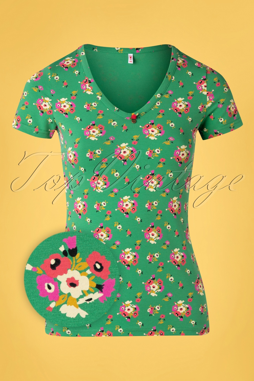 Sunshine Camp T-Shirt Années 50 en Vert Fleuri