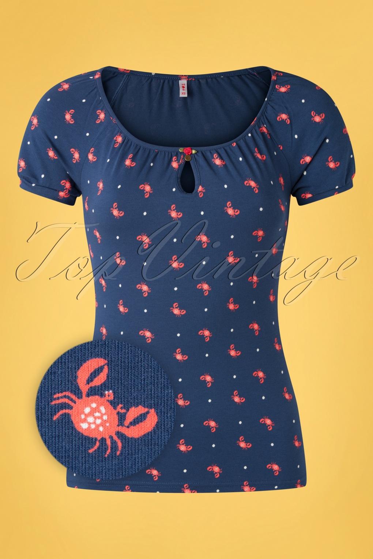 Start It With A Kiss T-Shirt Années 50 en Bleu Marine Mr Crabe
