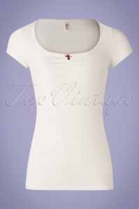 50s Logo Feminine Short Sleeve Top in White