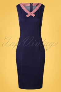 50s Diner Days Pencil Dress in Denim Blue