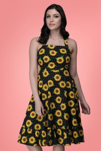 Collectif 32176 Maggie Sunflower Swing Dress Black 20200120 023L W