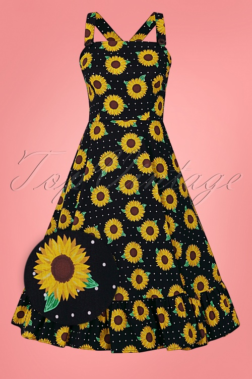 Collectif 32176 Maggie Sunflower Swing Dress Black 20200120 020L Z