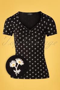 50s Marguerite Flowers Shirt in Black