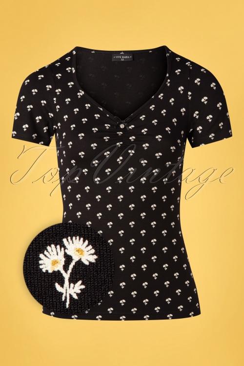 Vive Maria 32239 Tshirt Black Marguerite Floral 20200212 002Z