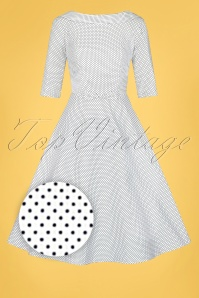 Collectif 32192 Bertha Mini Polka Dot Swing Dress in Ivory 20200210 022L Z