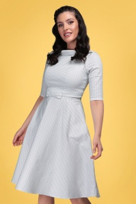 Collectif 32192 Bertha Mini Polka Dot Swing Dress in Ivory 20200210 020L W