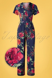 Vintage Chic for TopVintage 50s Quinty Floral Jumpsuit in Navy
