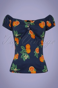 Collectif 32156 Dolores Oranges Top Navy 20191030 021L W