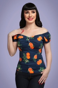 50s Dolores Oranges Top in Navy