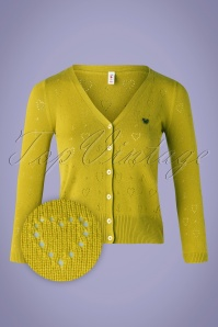 Blutsgeschwister 60s Logo Short Cardigan in Yellow Heart Anchor