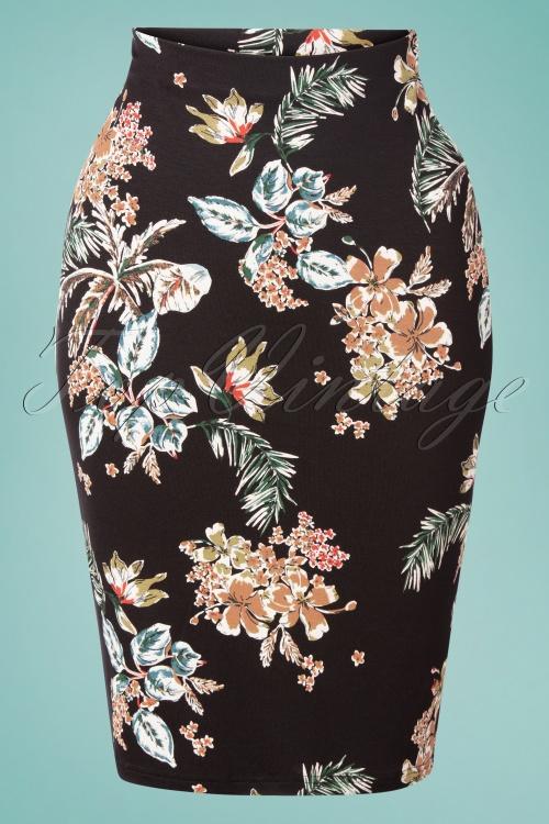 Vive Maria 32243 Pencilskirt Honolulu Black Floral 20200212 001W