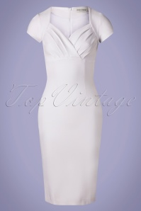 50s Sadie Pencil Dress in White