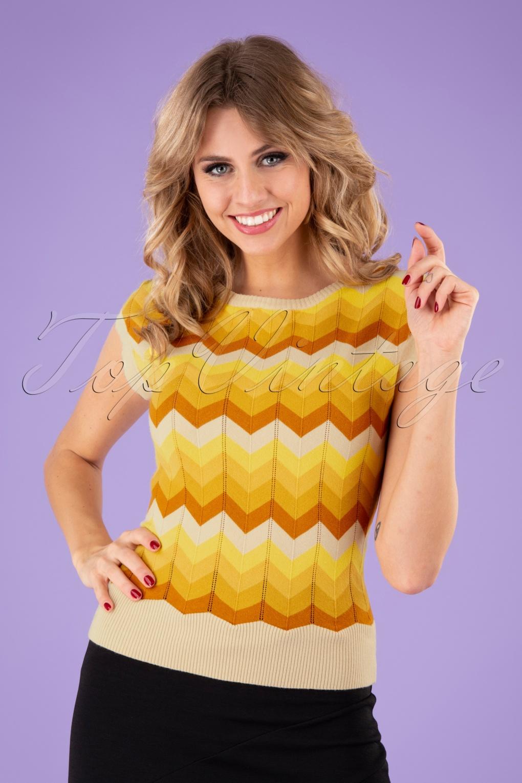 Women's 70s Shirts, Blouses, Hippie Tops 70s Yana Chevron Crew Neck Jumper in Yellow £34.95 AT vintagedancer.com