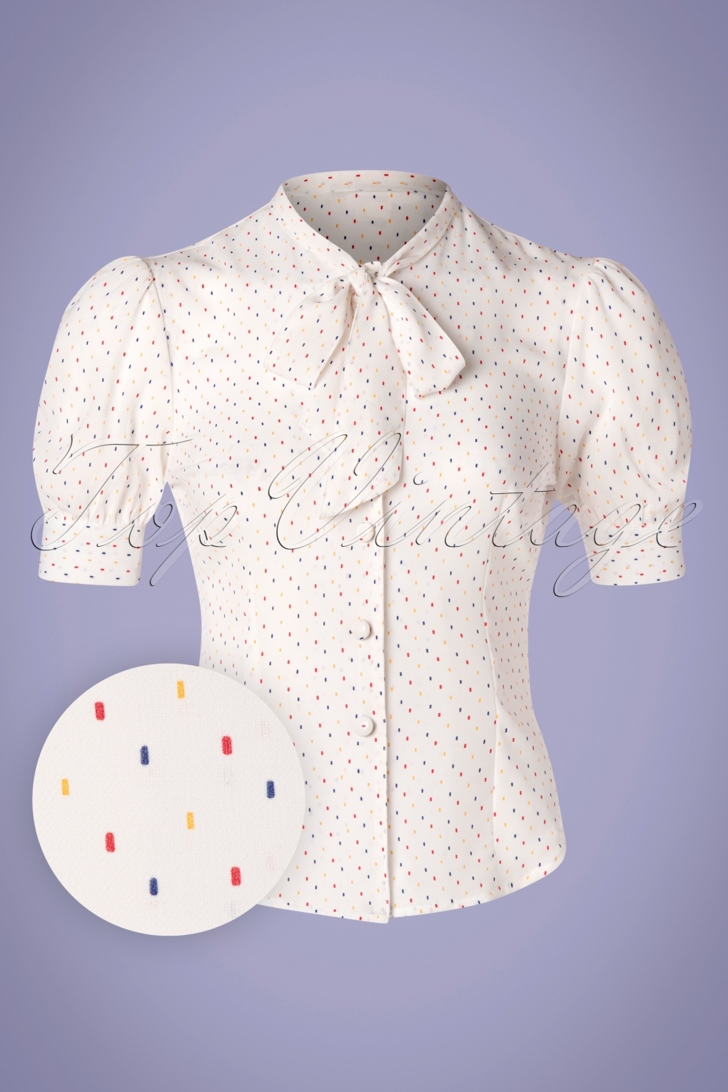1930s Style Blouses, Shirts, Tops | Vintage Blouses 40s Melody Sprinkles Blouse in White £34.95 AT vintagedancer.com